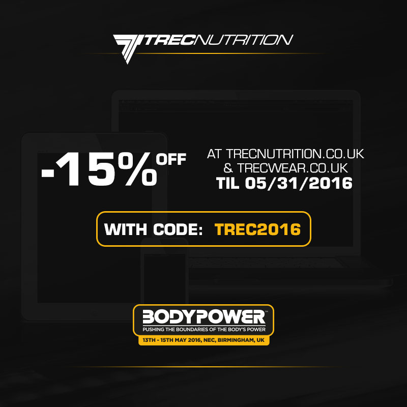 15% off during Bodypower for Trec nutrition products