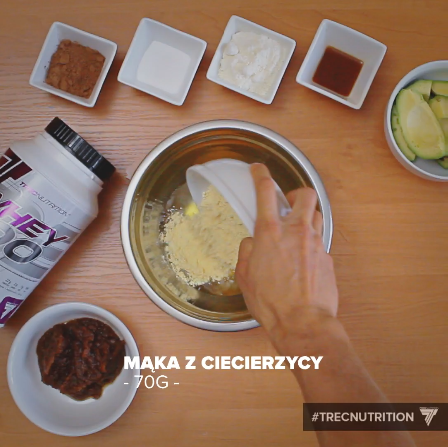 protein dessert, ingredients, chocolate brownie with avocado,